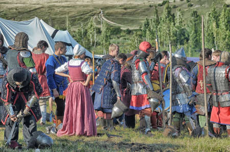Medieval feast, the festival of historical reconstruction of the early Middle Ages, Volkhov, Russia