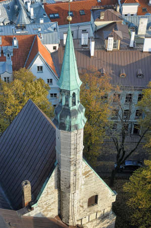 estonian: Rooftops of Tallinn, Estonia at the old city.