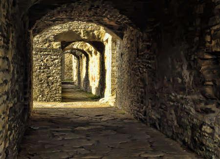 Stone corridor of a medieval castle.