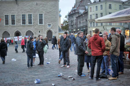 parade of homes: English football fans celebrate victory in Tallinn football team at the Town Hall Square.