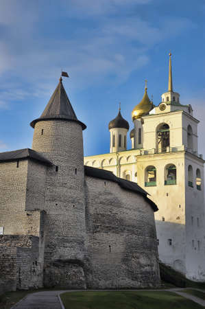 The Krom or Kremlin in Pskov, Russia,with the Trinity Cathedral. photo