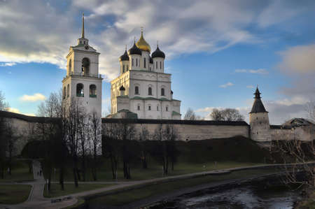 The Krom or Kremlin in Pskov, Russia,with the Trinity Cathedral.