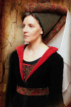 Portrait of a medieval woman with headdress photo