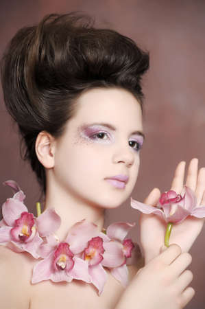 girl with orchids photo