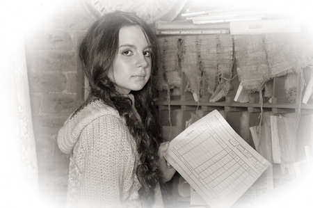 old office: Girl in the old office