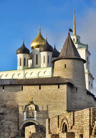 The Trinity Cathedral located since 1589 in Pskov Kremlin. Ancient Russian Orthodox Church. photo