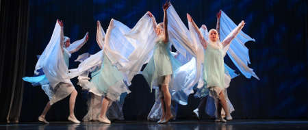 Dance performance on stage, Festival of childrens dance groups, St. Petersburg, Russia. 新聞圖片