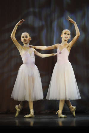 Ballet on stage, the performance of childrens dance groups, St. Petersburg, Russia.