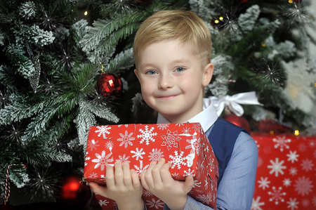 Happy blonde boy with a gift in hands under the Christmas tree Stock Photo