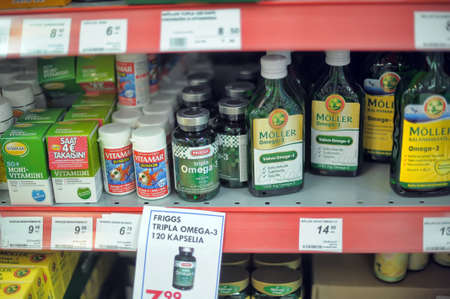 shop for animals: Vitamins on supermarket shelves,Lapenranta, Finland.