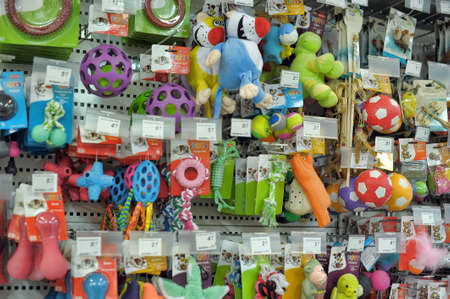 Pet Products in a pet supermarket.Lapenranta, Finland. Editorial