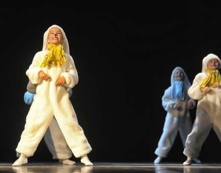 rabbit standing: Dance performance on stage, Festival of childrens dance groups, St. Petersburg, Russia. Editorial