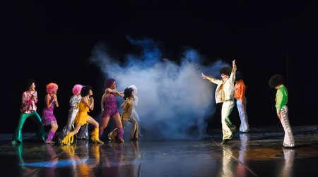 Dance performance on stage, Festival of childrens dance groups, St. Petersburg. Petersburg, Russia 版權商用圖片 - 89897760