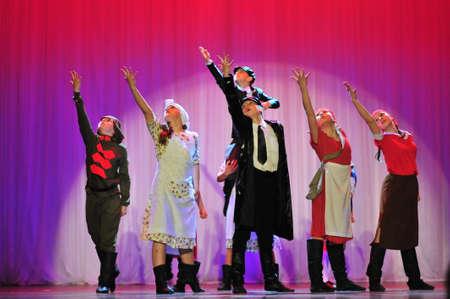 Childrens dance ensemble, Dance Lenin so young in the spirit of Soviet Socialist Revolution, St. Petersburg, Russia.