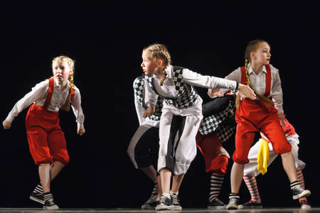 Dance performance on stage, Festival of childrens dance groups, St. Petersburg. Petersburg, Russia