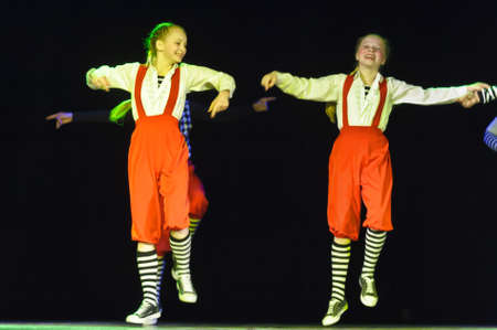 Dance performance on stage, Festival of childrens dance groups, St. Petersburg, Russia. Editorial