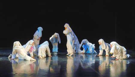 representations: Children dancing in bunny costumes Editorial