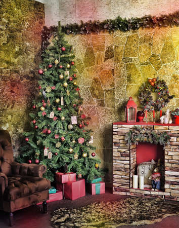 Beautiful holdiay decorated room with Christmas tree with presents under it. photo