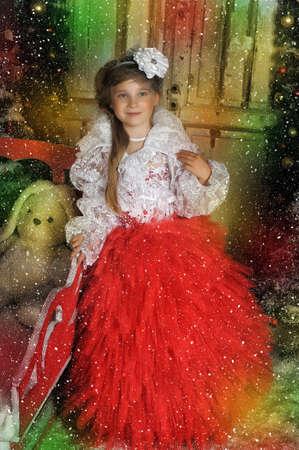 bolero: Young girl in a red dress with a white bolero
