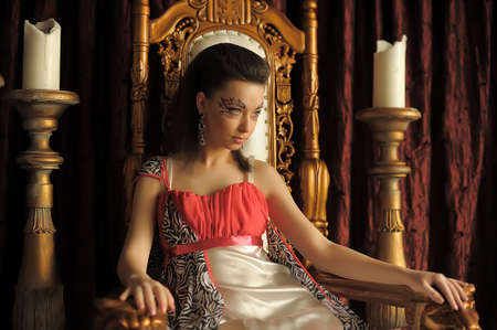 Fantasy medieval princess on the throne.