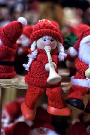 dwarf costume: Small souvenir toy dwarfs Santas Christmas market.