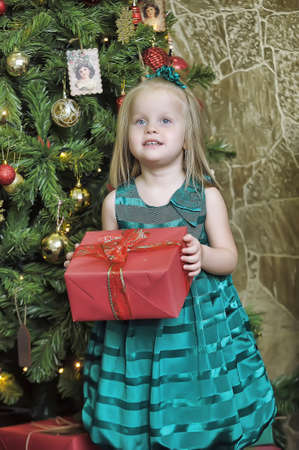 vivacious: happy girl child holding a gift in the hands of a Christmas
