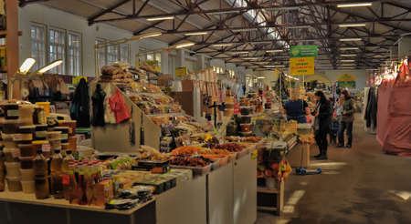 vyborg: Indoor farmers market, Vyborg, Russia. Editorial