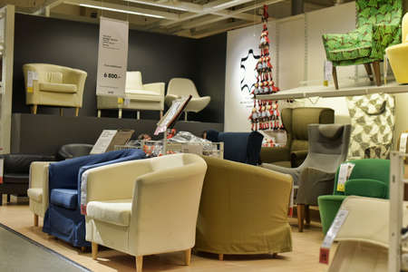 Chairs in the IKEA store, St. Petersburg, Russia.