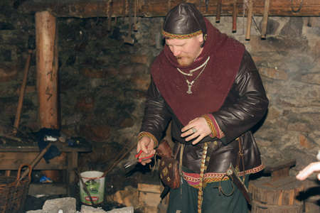 homesteads: Viking in the smithy, Homesteads Viking Age, Center for History and Culture, the so-called yard Vikings Svargas, Russia.