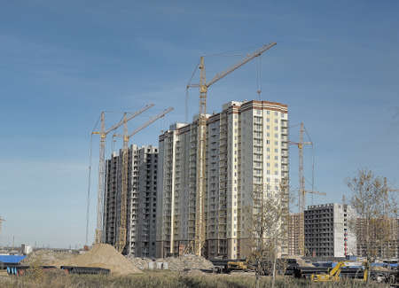 Multi-storey building under construction, new construction area for the beltway, St. Petersburg, Russia.