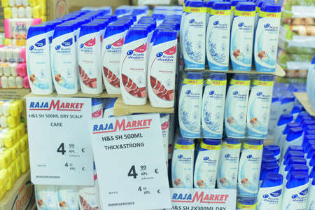 Shampoo shelves in store, Lappeenranta, Finland. Editorial