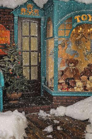 osos navideños: tienda de juguetes antiguos en Navidad Foto de archivo