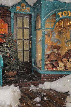 small town: vintage toy store on Christmas Stock Photo