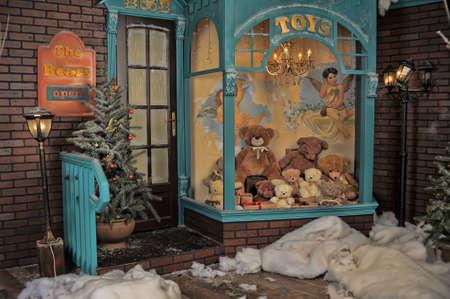 osos navide�os: tienda de juguetes antiguos en Navidad Foto de archivo
