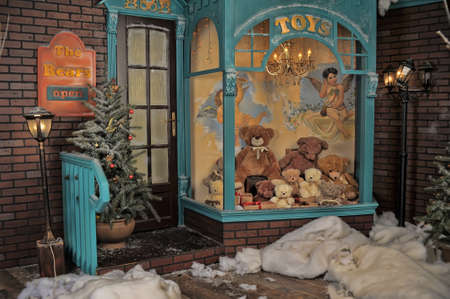 shop window display: vintage toy store on Christmas Stock Photo