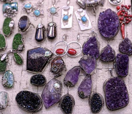 pendants: Set of stones pendants: turquoise, agate and serpentine.