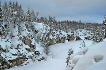 harsh: Harsh northern Misty landscape. Ruskeala marble quarries in Karelia, Russia in winter.