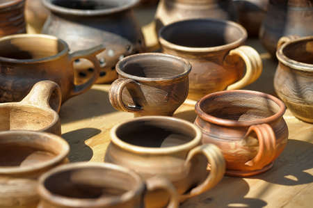 jugs: Clay pots and jugs for sale. Stock Photo