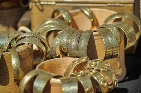 saraybosna: Brass jewelry at handicraft market.