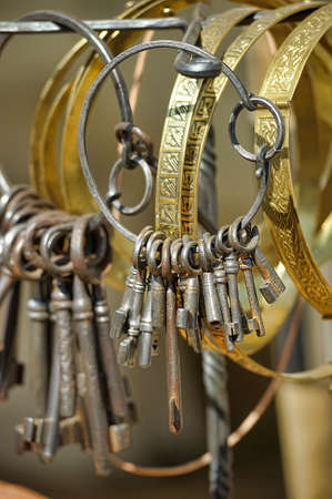 antique keys: Antique keys on a ring.