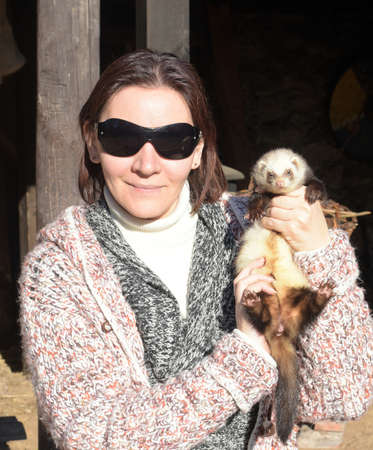 ferret: Woman with a ferret in the hands. Stock Photo