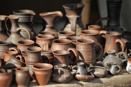 fleamarket: Clay pots and jugs for sale. Stock Photo