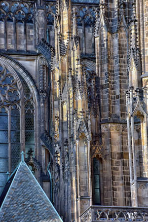 buttresses: View of gothic flying buttresses supporting St Vitus cathedral.