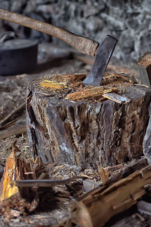 kindling: Cleaver on deck for chopping wood and kindling around.