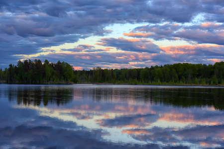 wonderfull: Wonderfull sunset over lake in woodland. Stock Photo