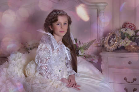 flowergirl: Princess in a white dress retro child.