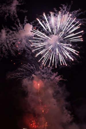 incendiary: Fireworks flash in the dark sky to celebrate festivity.