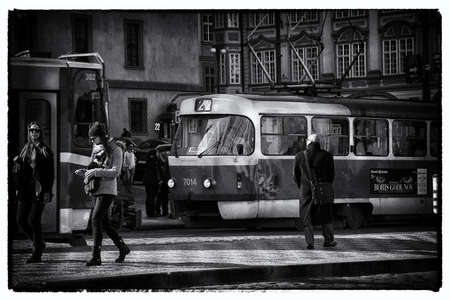 electric avenue: Scenic Tour of Prague, historical tram. Editorial