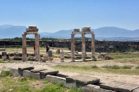 pamukkale: Old ruins at Pamukkale Turkey - architecture background.