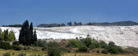 carbonates: Natural travertine pools and terraces, cotton castle, Pamukkale, Turkey.